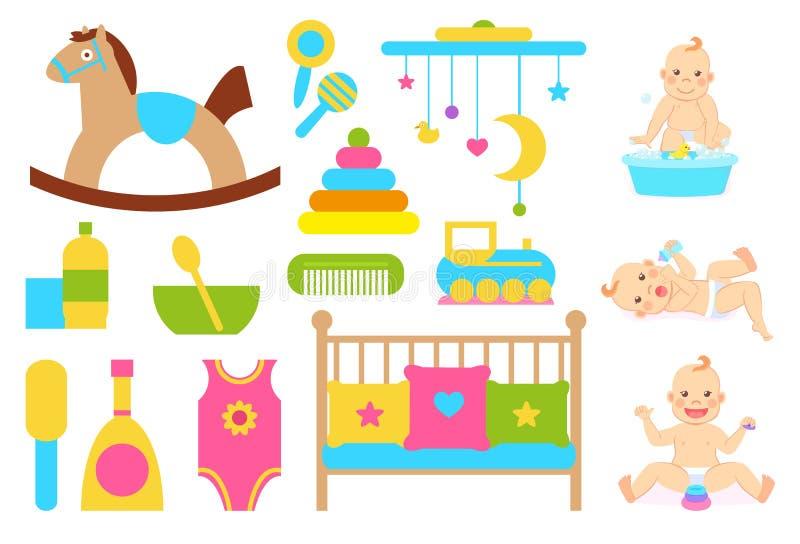 Dziecko z kaczką w mydło wodzie i dzieciak opieki przedmiotach royalty ilustracja
