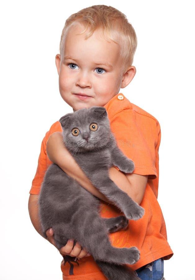 Dziecko z kotem zdjęcia stock