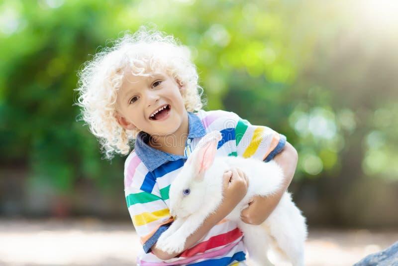 Dziecko z królikiem Wielkanoc królik Dzieciaki i zwierzęta domowe fotografia stock