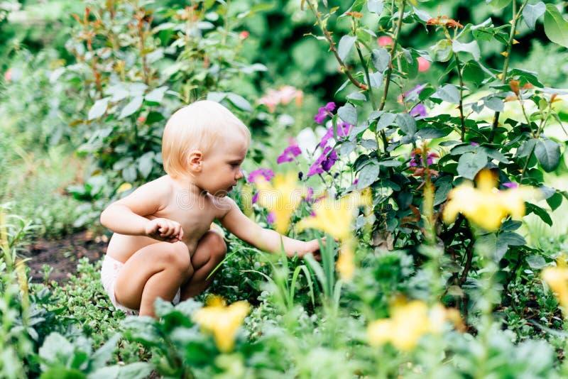 Dziecko z niebieskimi oczami bawić się w wiosce w lecie obraz stock