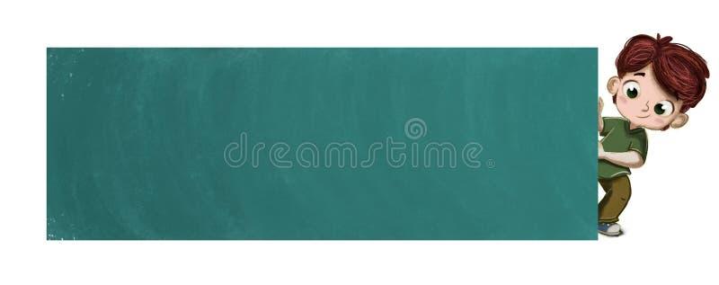 Dziecko z plakatem lub blackboard ilustracja wektor