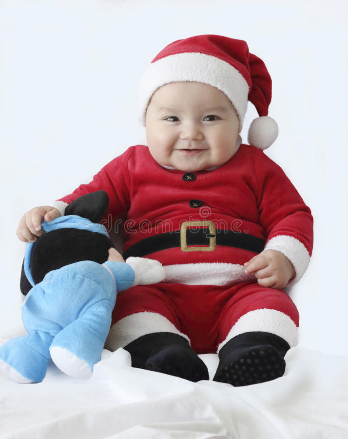 Dziecko z Santa Claus kostiumem fotografia stock