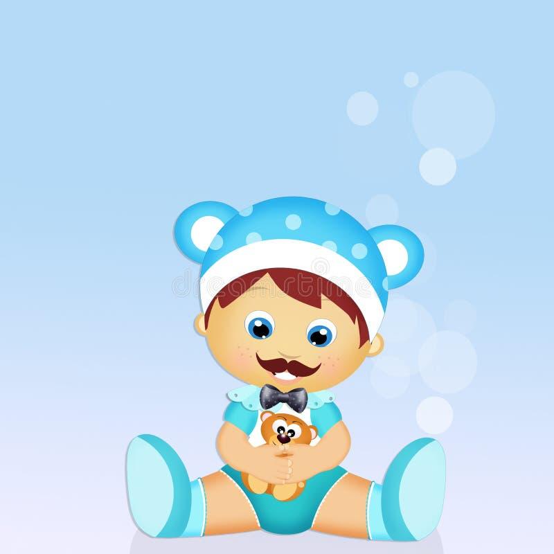Dziecko z wąsy ilustracja wektor