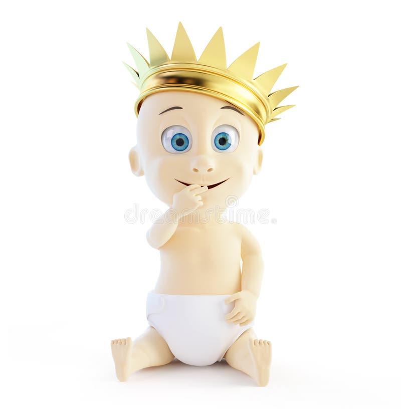 Dziecko z złotą koroną ilustracji