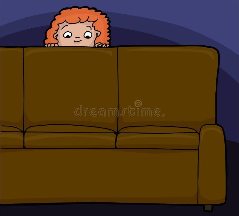 Dziecko Za kanapą ilustracja wektor