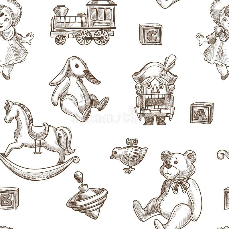 Dziecko zabawek królika i puszystego mokietu niedźwiedzia bezszwowy wzór royalty ilustracja