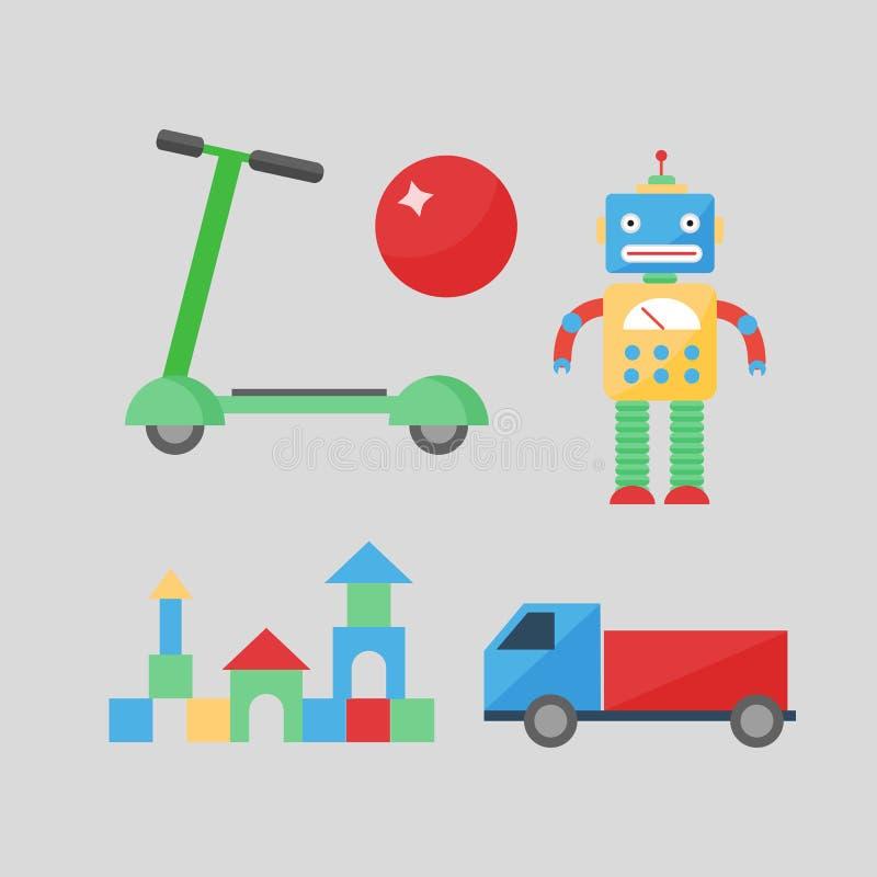 Dziecko zabawek wystroju dzieci playroom stylu izbowej różnej ślicznej hulajnoga wystroju samochodu szczęśliwy wektor ilustracja wektor