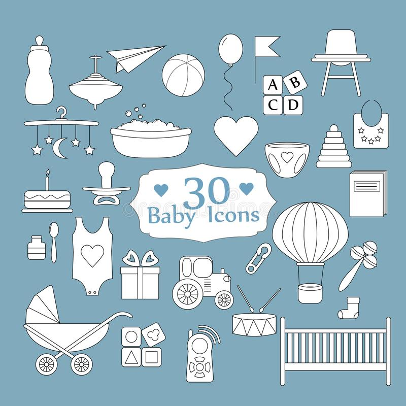 Dziecko, zabawki, karma i opieka, Duży sieci ikony set royalty ilustracja