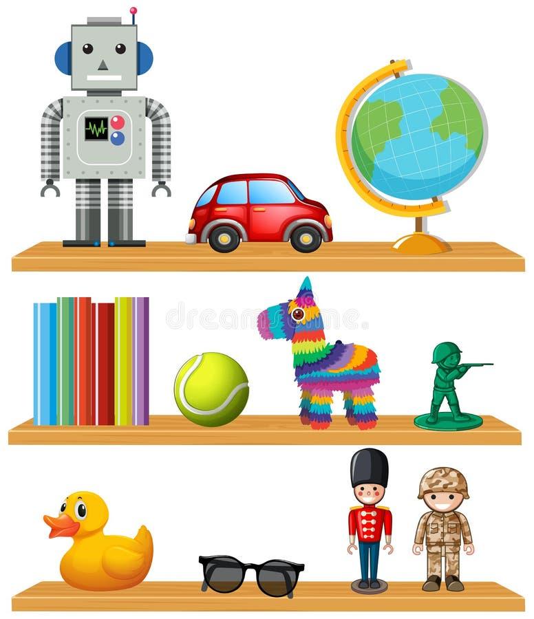 Dziecko zabawki na półce ilustracja wektor