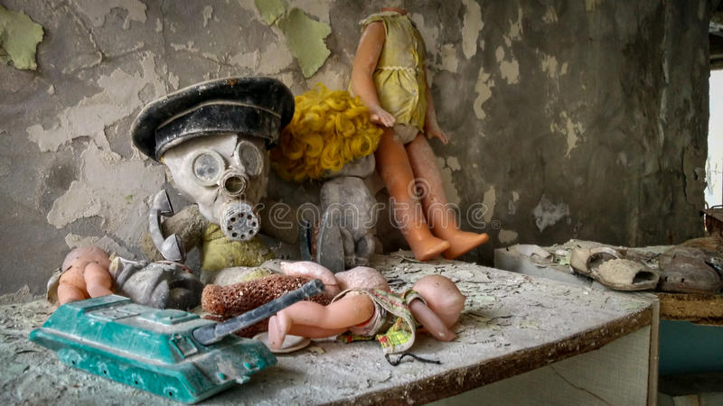 Dziecko zabawki w dziecinu w Pripyat obrazy royalty free