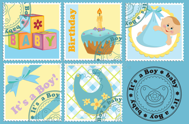 dziecko zaznacza opłata pocztowa znaczki s royalty ilustracja