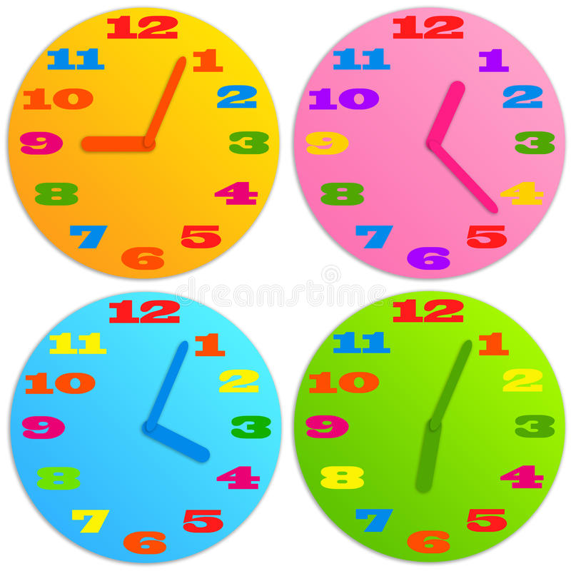 Download Dziecko zegar ilustracji. Ilustracja złożonej z póżno - 28972703