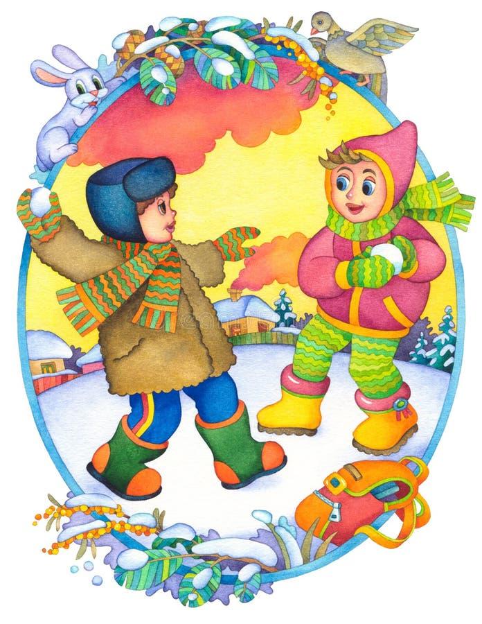 dziecko zima ilustracji