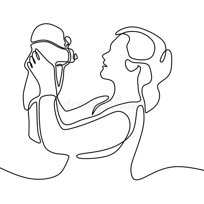 Dziecko znoszący jeden kreskowego rysunku ciągły rysunek Mama naprawdę szczęśliwa po ona ciężarna Minimalizm stylowa wektorowa il royalty ilustracja