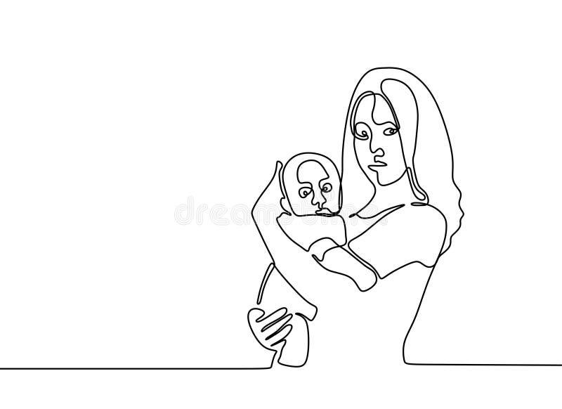 dziecko znoszący jeden kreskowego rysunku minimalista matka i jej syn royalty ilustracja