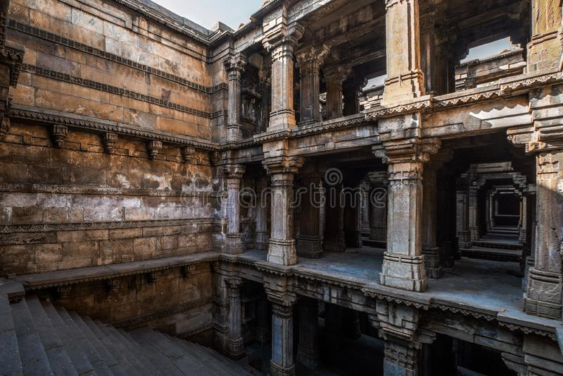 dziedzictwo architektura Harir Pięć piętrowy Stepwell, 1866, Hinduska i Islamska architektura Ahmedabad Gujarat obraz royalty free