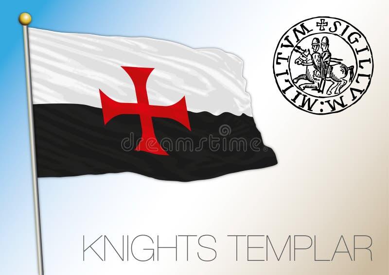 Dziejowa flaga rycerza templariusz ilustracja wektor