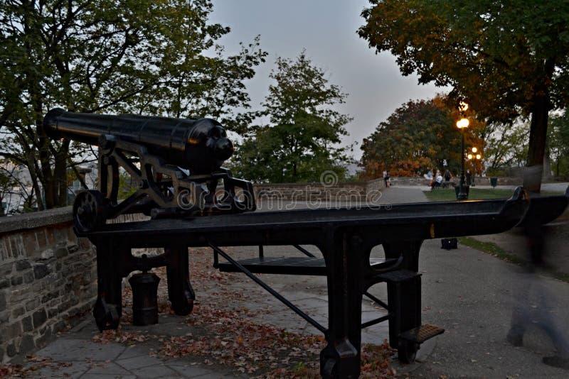 - dziejowa fortyfikacja może ruciany De Remparts, Quebec, Kanada - obraz stock