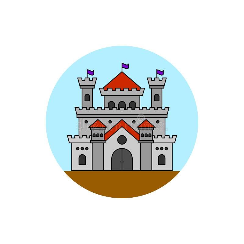 Dziejowa grodowa budynek ikona royalty ilustracja