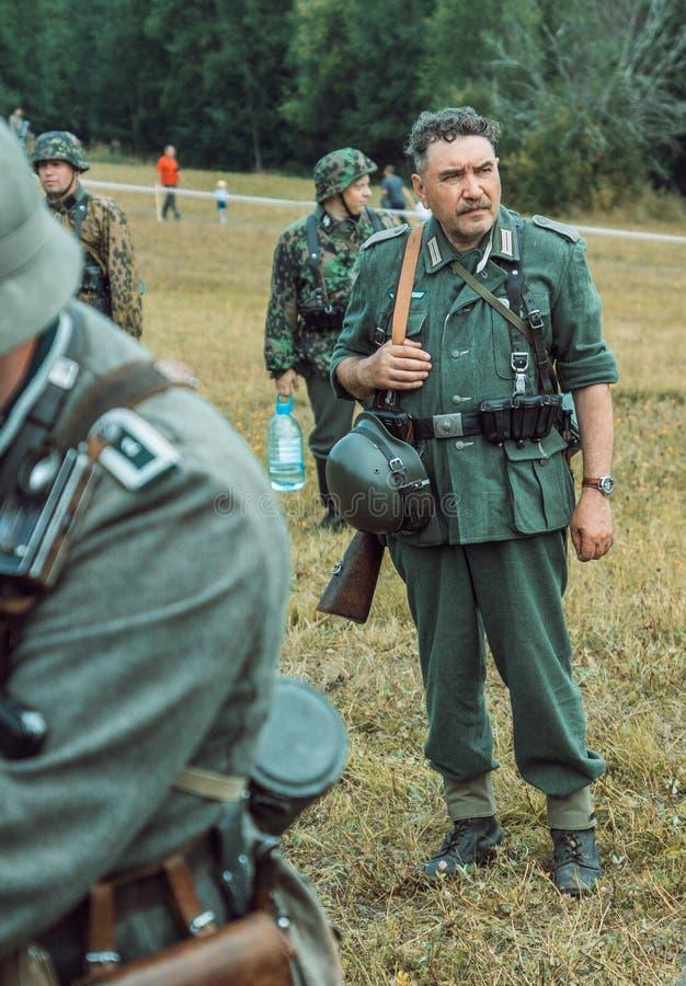 Dziejowa odbudowy drugi wojna światowa Niemiecki żołnierz, memb zdjęcie stock