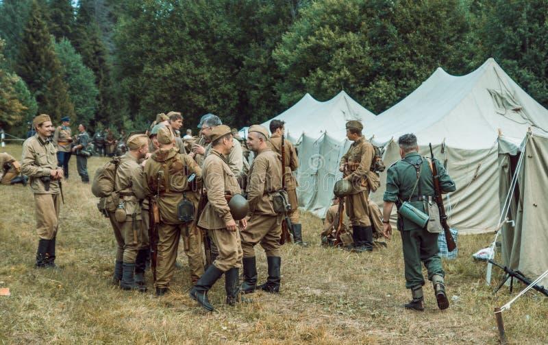 Dziejowa odbudowy drugi wojna światowa Rosyjski s i niemiec fotografia royalty free