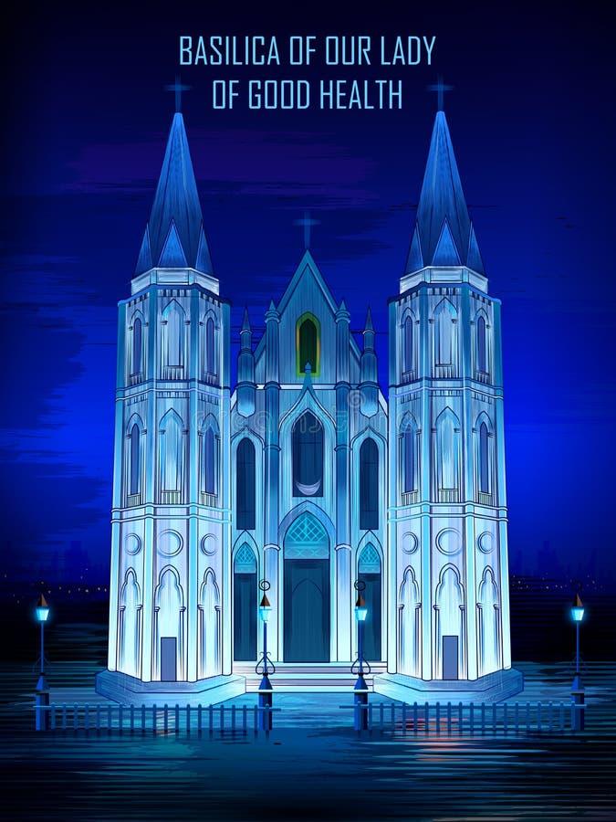 Dziejowa pomnikowa bazylika Nasz dama dobre zdrowie kościół w Velankanni, tamil nadu, India ilustracja wektor