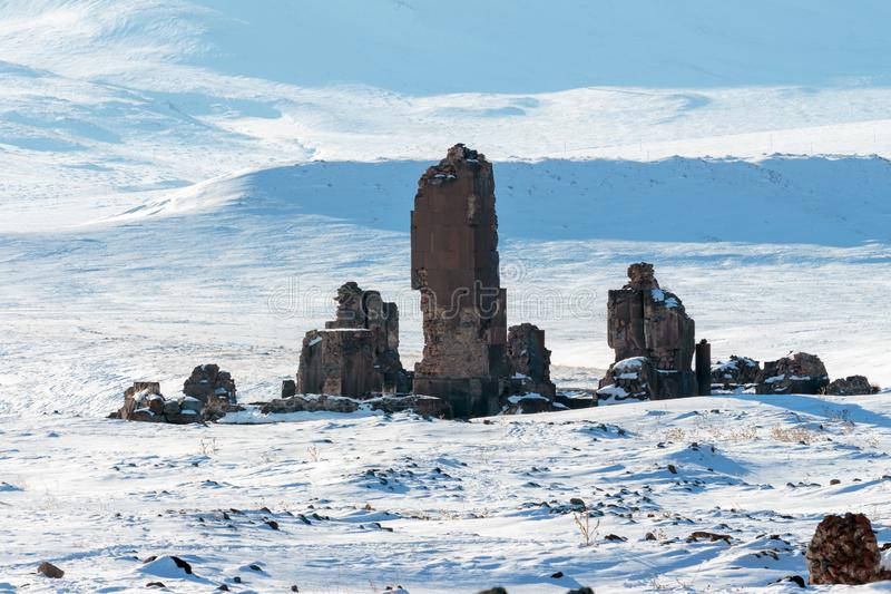 Dziejowe Ani ruiny i zima krajobrazy, Kars, Turcja zdjęcie royalty free