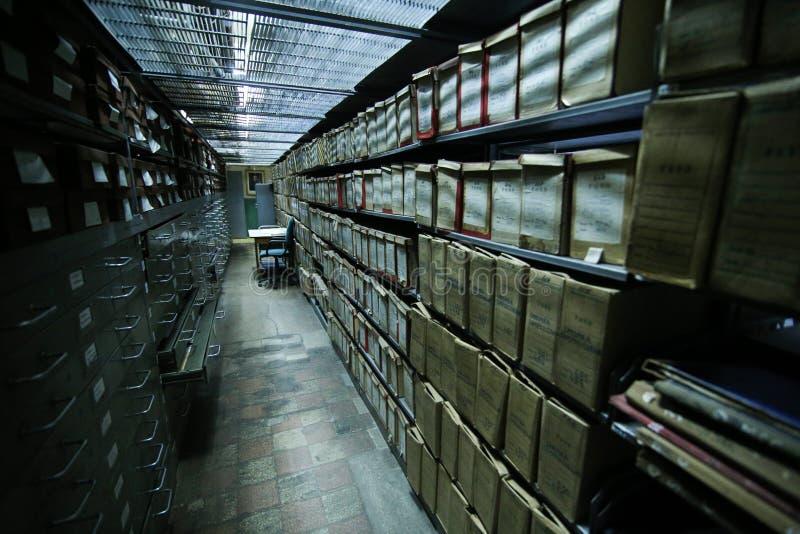 Dziejowi archiwa brogujący w depozycie obraz stock