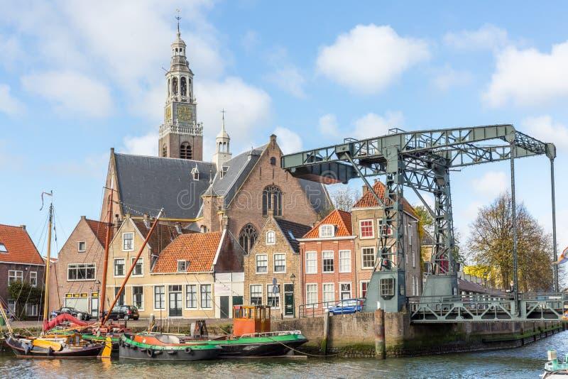 Dziejowi budynki na Marnixkade, Maassluis Netherlan obraz royalty free