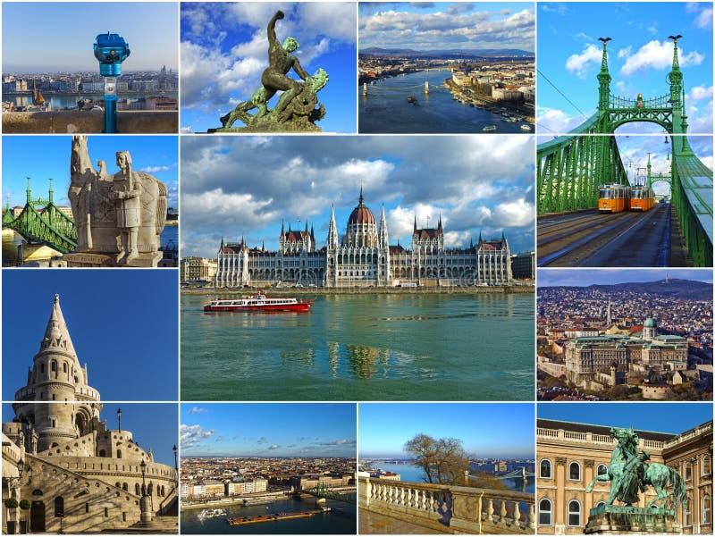 Dziejowi przyciągania Budapest, Węgry (kolaż) obrazy stock