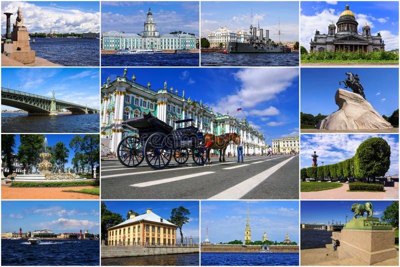 Dziejowi przyciągania St Petersburg Rosja (kolaż) obrazy royalty free