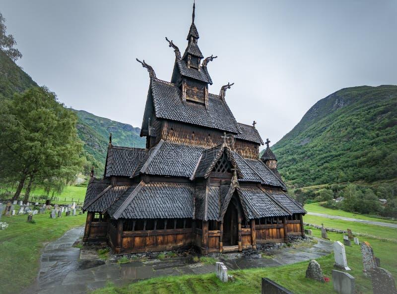 Dziejowy Borgund klepki kościół w Norwegia Średniowieczny kościół chrześcijański zdjęcia stock