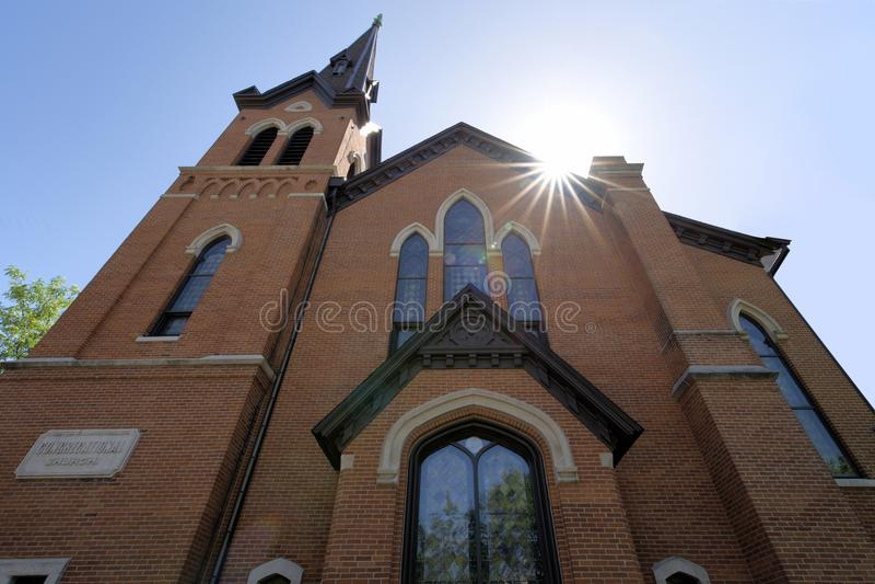 Dziejowy ceglany kościół fotografia stock