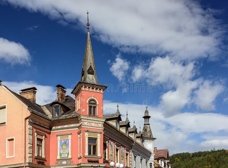 Dziejowy dom w miasteczku Spittal dera Drau, Carinthia, Austria zdjęcie stock