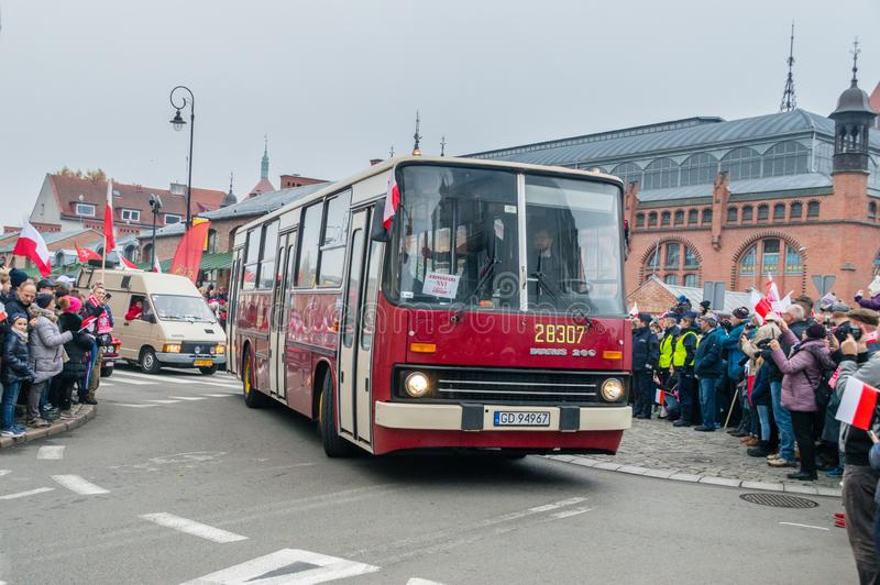 Dziejowy Ikarus 260 przy Krajową niezależnością w Polska zdjęcia royalty free