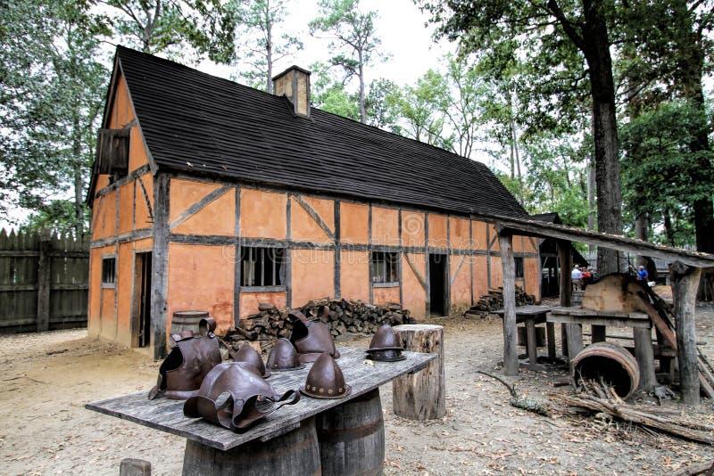 Dziejowy Jamestown Virginia budynek i artefakty zdjęcia stock