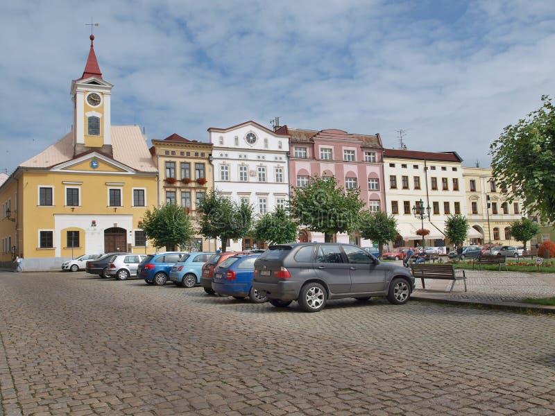 Dziejowy kwadrat, miasteczko Broumov, Wschodnia cyganeria obrazy royalty free