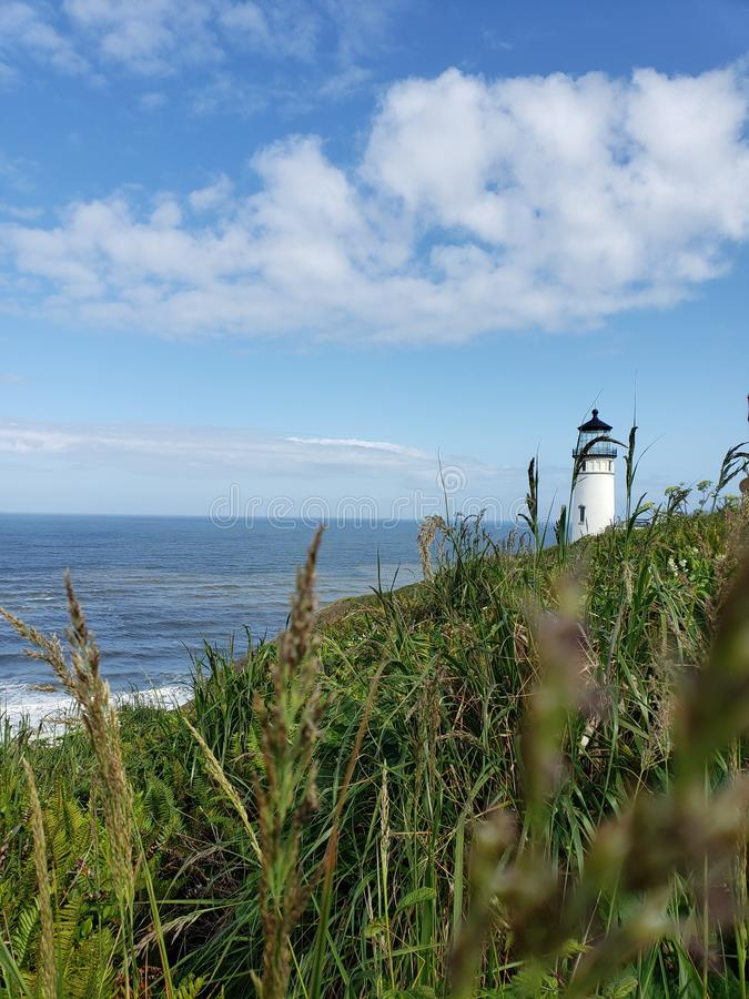 Dziejowy latarni morskiej Oregon wybrzeże obraz royalty free