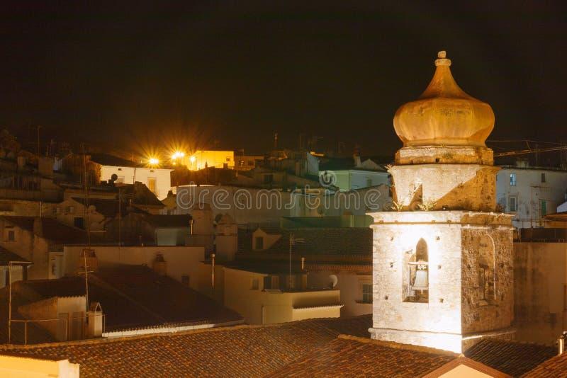 Dziejowy miasto nocy widok z różnorodnymi domami i dachami obrazy stock