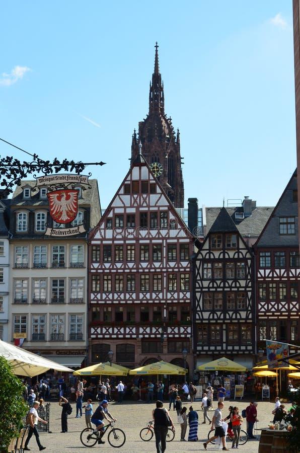 Dziejowy Romer kwadrat w mieście Frankfurt magistrala, Niemcy obrazy stock
