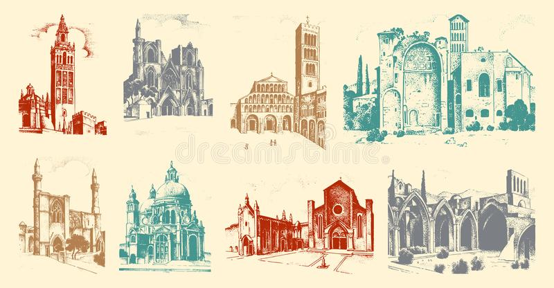 Dziejowy stary budynek Fasada w Venice Gocki baroku styl Antyczna architektura ulica w Włochy Europejski miasto royalty ilustracja