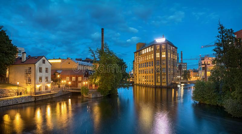 Dziejowy tekstylny przemysłowy teren w Norrkoping, Szwecja zdjęcie royalty free