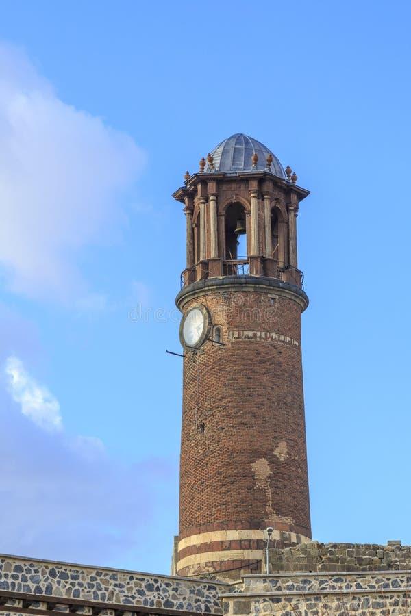 Dziejowy zegarka wierza w Erzurum kasztelu w Erzurum zdjęcia stock