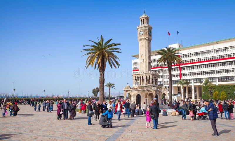 Dziejowy zegarowy wierza, symbol Izmir miasto zdjęcia royalty free