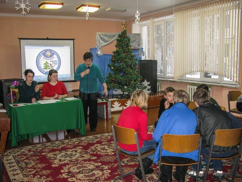 Dzieli emergencies ministerstwa Białoruś ` nowego roku Bezpieczny ` przy jeden szkoły Gomel region zdjęcie royalty free