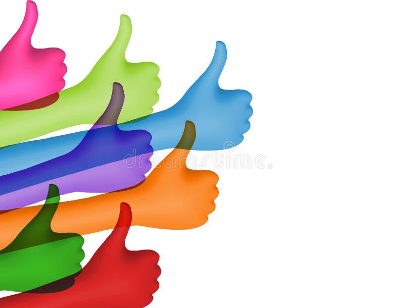 Dzieli i pod??a Barwione r?ki z aprobatami poj?cie cyfrowo wytwarza? cze?? wizerunku sieci res socjalny Pozytyw i zatwierdzenie O ilustracji