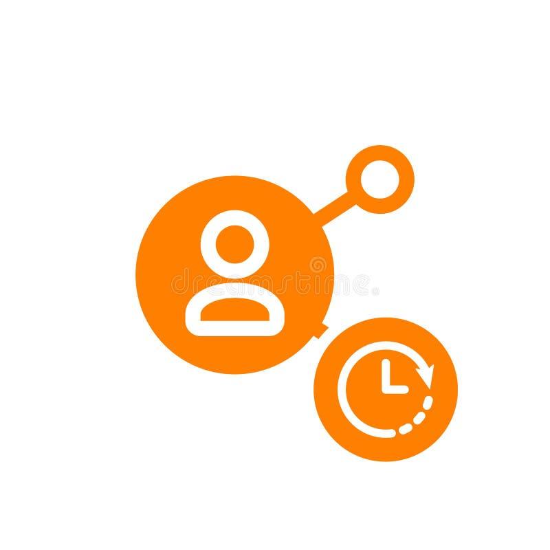 Dzieli ikonę, multimedialna ikona z zegaru znakiem Dzieli ikonę i odliczanie, ostateczny termin, rozkład, planistyczny symbol ilustracja wektor