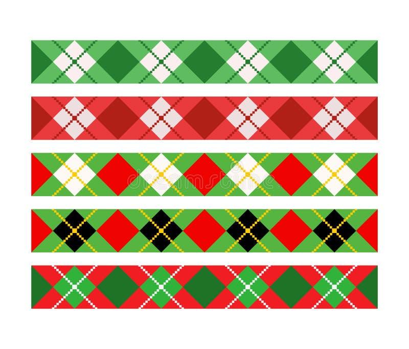 Dzielnik bożonarodzeniowy,obramowanie,zestaw wstążek Argyle bavarian rhombic harlequin plaid wzorzec Tło lozenge diamond checkeck ilustracja wektor
