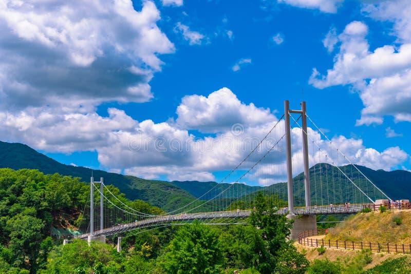 Dzienna atmosfera przy Gołębim Nang most, Pocheon Seul Korea obraz royalty free