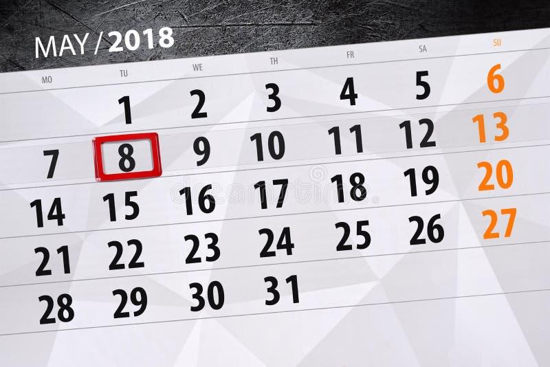 Dzienna biznesu kalendarza strona 2018 Maj 8 zdjęcia royalty free